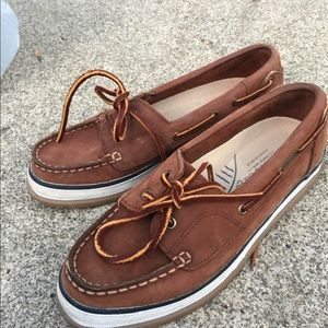 Women's Bass & Co. Tan Leather Boat Shoes 8M EUC